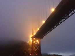 The Golden Gate Bridge under the foggy SF twilight sky , Diana R - August 2016