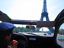 The famous Eiffel Tower, viewed from our very French 2CV, Barrie S - September 2011