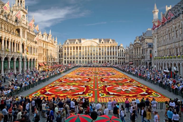 Brussels Central Square (Grand-Place) with flower carpet. - Brussels