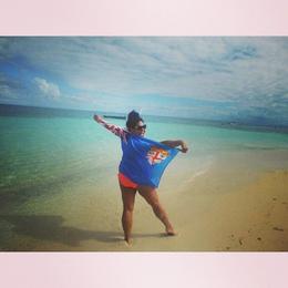 Drinking a coconut under the Fiji sun , Natalie T K - June 2014