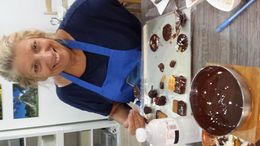 Susan learning how to make chocolates , Dr Susan P - September 2015