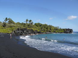 We stopped at a black sand beach for some time to swim and hike, Laura All Over - January 2013