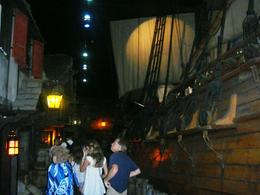 Replica of a pirate ship and a alleyway of pubs, etc. where pirates would have hung out , Leah - July 2011