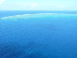 Approaching the boat and helipad pontoon on the outer reef. , Linda B - August 2012