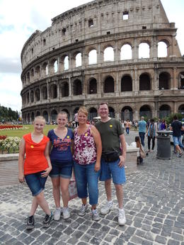 Our family standing on the original cobblestone road just outside the Colosseum. , Andrew G - July 2013