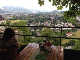 This is the view from our table at one of the cafes at the top of the Fort in Salzburg. , Steve Y - June 2013