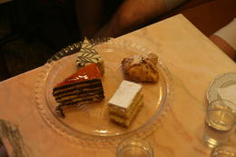 These are the four desserts - Sacher Torte - Another unknown chocolate torte - Apple dessert - Napoleon , Robert C - August 2014