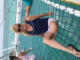 The wife enjoying sailing in Aruba , Pat - May 2016