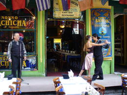 Biking to La Boca neighborhood in Buenos Aires, watching tango dancers outside one of the restaurants , kerry L - May 2011