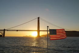 Timing just right. Sunset behind the Golden Gate Bridge. Stunning view. , David Yuen - May 2013