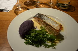 Salmon with green salad and purple mashed potato. , Aldo - June 2013