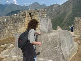 The sundial at Machu Picchu. If you hold your hands over it, you can feel its energy., Bandit - December 2010