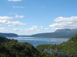 View of Lake Tarawera with Mt Tarawera in the background. Taken from the lookout near the Buried Village. - April 2009