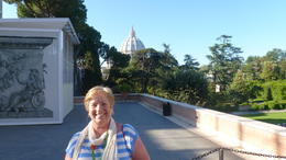 Denise going through museum on to balcony, St Peters Basilica in background. , Deni - May 2013