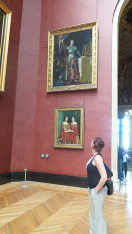 This pic of me in front of the pic of St Joan of Arc in the Louve! , Mckenzie C - August 2014
