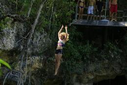 Maggie jumping in Cenote , rebeccA B - August 2017