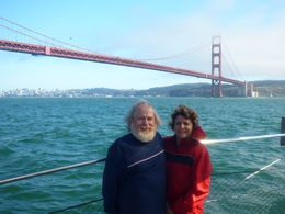 Stephen and Antoinette with the Golden Gate Bridge as a backdrop. One of us had a ban hair day. , Stephen L - September 2015