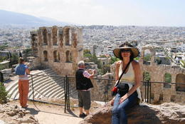 My wife at the Acropolis , John g K - May 2011
