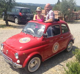 Enjoying a sweet drive through the Tuscan Countryside with Fiat 500 Tours.. , Erin K - August 2013