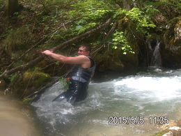 This is a picture of myself during on of the stops. I decided to take a dip in this pool and almost got whisked away by the current. luckily the tree was there to grab on to. , C K - May 2015