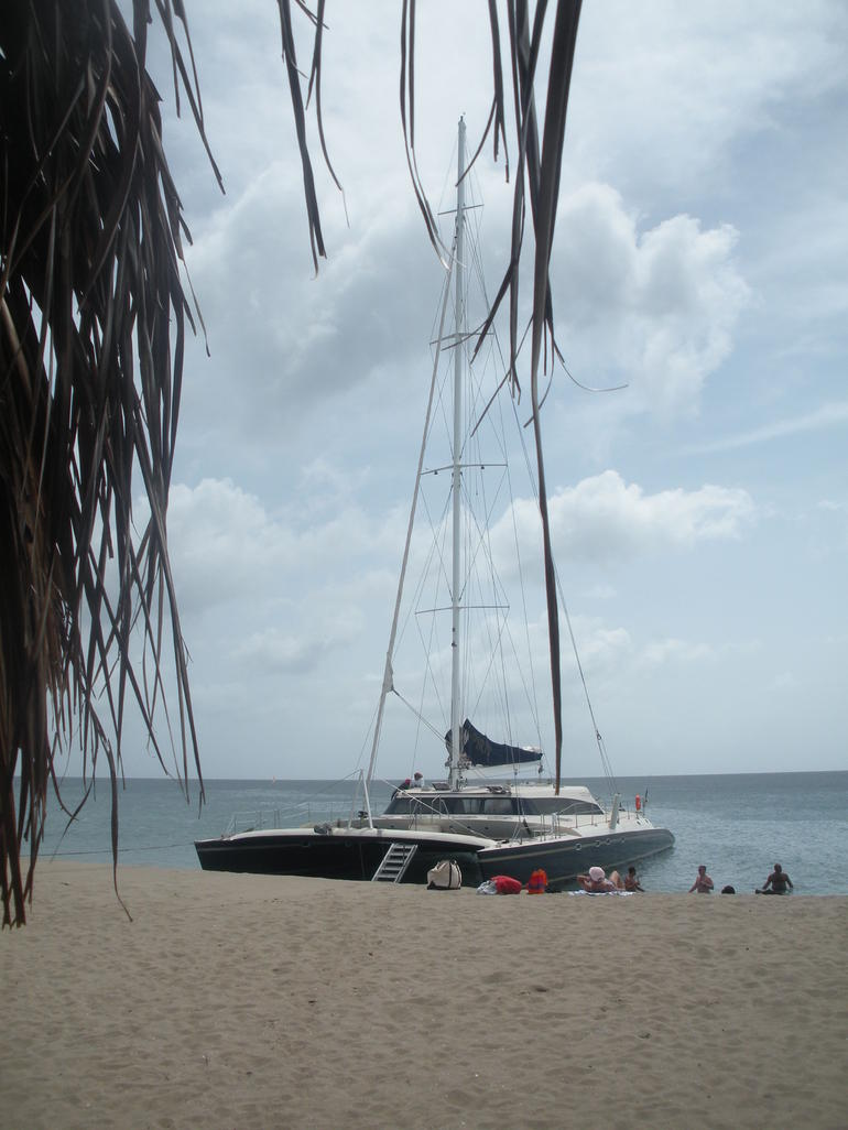 Our boat on the beach in Nevis - St Kitts