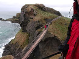 Overlooking the Carrick-a-rede bridge on a windy day , Craig and Susann - January 2014