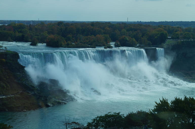The view of the falls from the restaurant - New York City