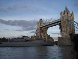 The Navy Ship was able to sail under Tower Bridge, Heather T - October 2010