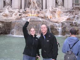 My wife and I standing in front of the Trevi Fountain., Kevin S - April 2008