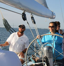Yvonne Schweighardt learned how to steer the sailboat. , Dr frank - July 2015