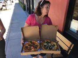 Tricia with our pizzas , Frank B - May 2017