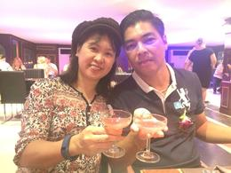 welcome drinks at dinner cruise on the Chao Phraya River , Mil S - June 2017
