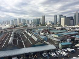 View of the Tsukiji market taken from the top of a nearby parking garage , rnpoon - November 2017