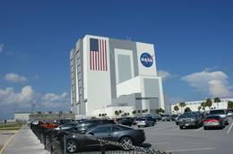 View of the NASA Assembly Building from the parking lot, Carol H - October 2009
