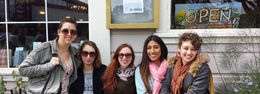 The girls of the group after enjoying Chai teas from Bovine Bakery in Point Reyes Station - April 2015