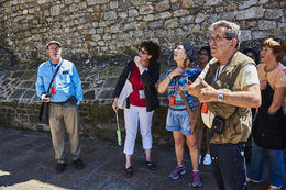 Pascal speaking to the group in Mont St. Michel , Newton D - August 2016