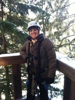 Hanging out in one of the tree platforms, ready for my first zip., taylor - December 2011