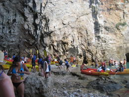 A couple of sea kayak groups in the cove , SBS - September 2014
