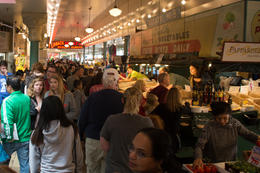 Pike Place Market's crowded hallways , Early E - August 2017
