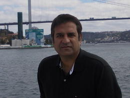 Picture taken with bridge connecting europe with asia in background , Amir - September 2012
