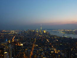 View from the 86th floor observatory, we watched the sun set. This is looking South to the new World Trade Centre. , Diana M - September 2014