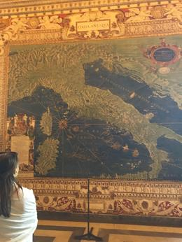 One of the amazing 16th century maps of Italy lining a huge gallery - found to be 80-85 accurate. , Julia E - August 2016