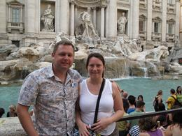 The new Mr & Mrs Davenport at the Trevi fountain on the first night of our honeymoon., Donnamarie H - June 2010