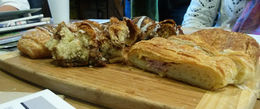 A ham and cheese croissant, a coffee cake, and pain au chocolate to start our tour, Emily G - April 2015