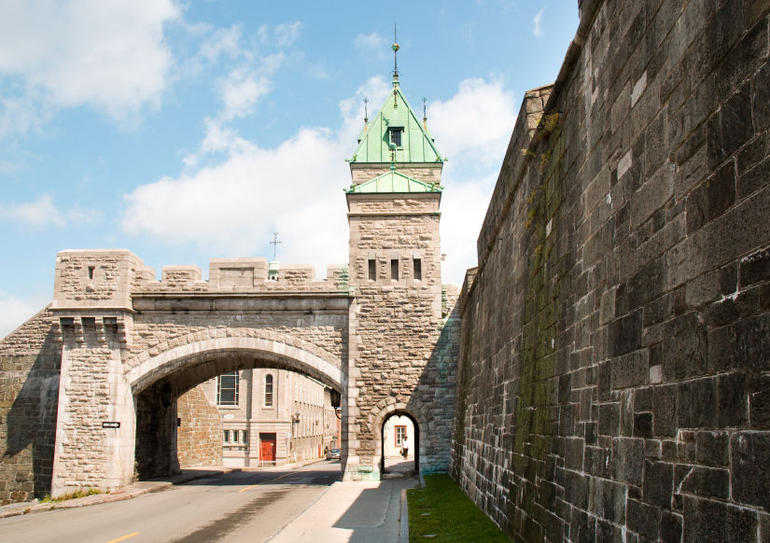 Quebec City fortified walls and stone arch - Quebec City