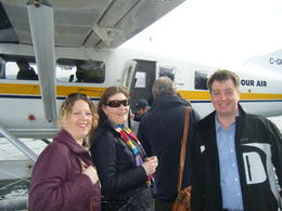 Anne, Sarah and Chris about to get on the seaplane. Wed 16th March 2011 , Anne R - April 2011