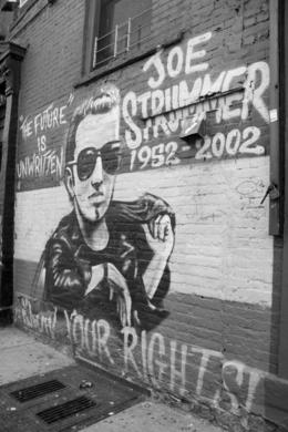 Joe Strummer mural in the Bowery, ROD C - May 2008