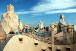 "Roof top of La Pedrera in Barcelona after reopening to the public.It is part of the UNESCO World Heritage Site ""Works of Antoni Gaudí"".It was used in Antonioni's film The Passenger as a ...  - May 2011"