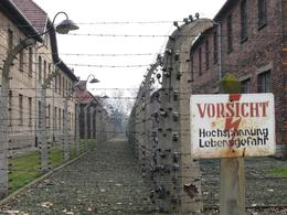 Photo was taken from outside the Auschwitz Camp 1. The red-brick building on the right of the photo is part of the Auschwitz Camp while the building on the left is its Administration building. Note... - December 2009