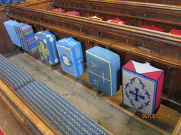 Hand-needlepointed kneelers in church - we got there just after Sunday service and were welcomed. , Arthur S - June 2014